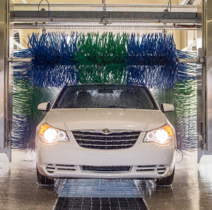 Car Going Through Soft Touch Car Wash