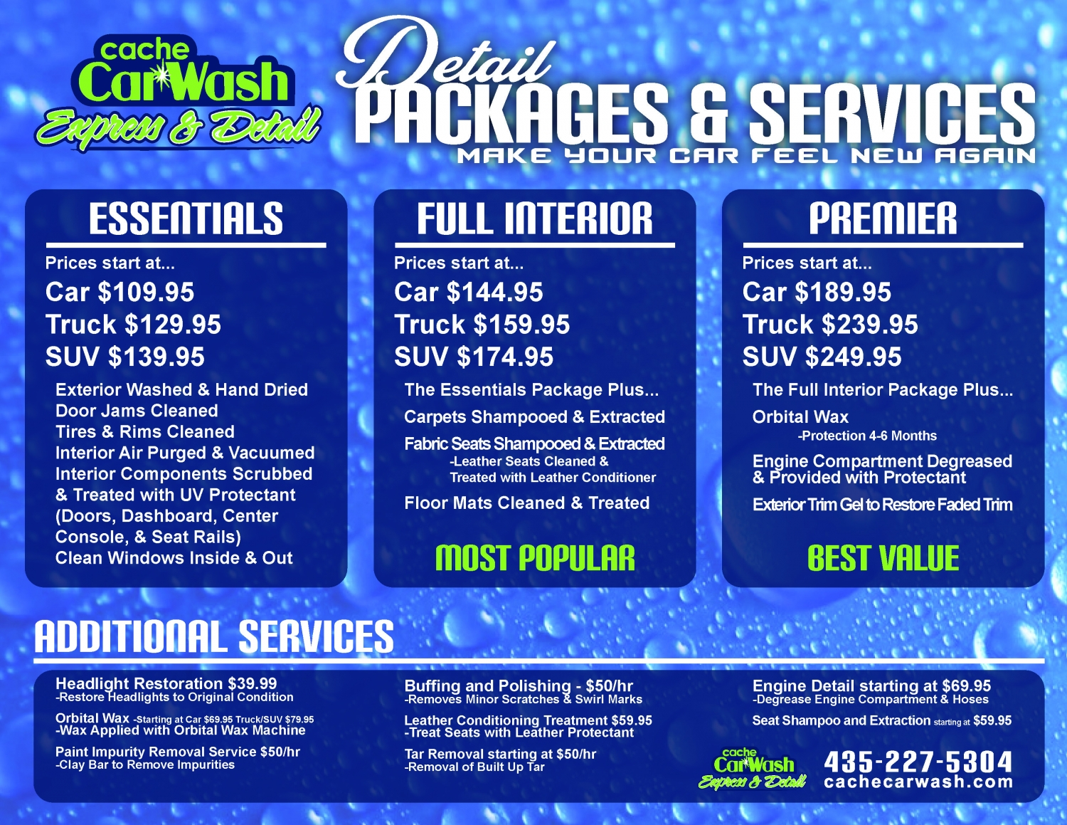 Cache Car Wash Detail Menu